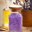 Spa essentials - lavender aromatherapy — Stock Photo