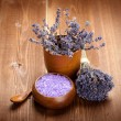 Lavender bath salt - spa and aromatherapy — Stock Photo #6683622