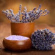 Lavender bath salt - spa and aromatherapy — Stock Photo