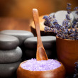 Lavender bath salt for beauty treatment — Stock Photo