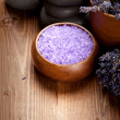 Lavender bath salt for beauty treatment — Stock Photo #6685850
