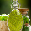 Stock Photo: Green bath salt - aromatherapy minerals