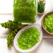 Herbal Spa - Green bath salt — Stock Photo