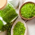 Aromatherapy minerals - green bath salt — Stock Photo