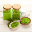 Stock Photo: Aromatherapy minerals - green bath salt