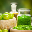 Stock Photo: Spa essentials - green aromatherapy
