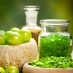 Spa essentials - green aromatherapy — Stock Photo