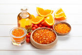 Spa essentials - orange aromatherapy — Stock Photo