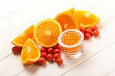Pomarańczowy - owoce i sól do kąpieli — Zdjęcie stockowe
