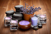 Spa treatment - hot stones and spa minerals — Stock Photo