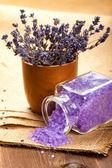 Lavender aromatherapy - bath salt — Stock Photo