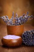 Lavender bath salt - spa and aromatherapy — Stock Photo