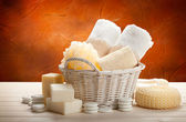 Hygiene - towels, sponge and soap bar — Stock Photo