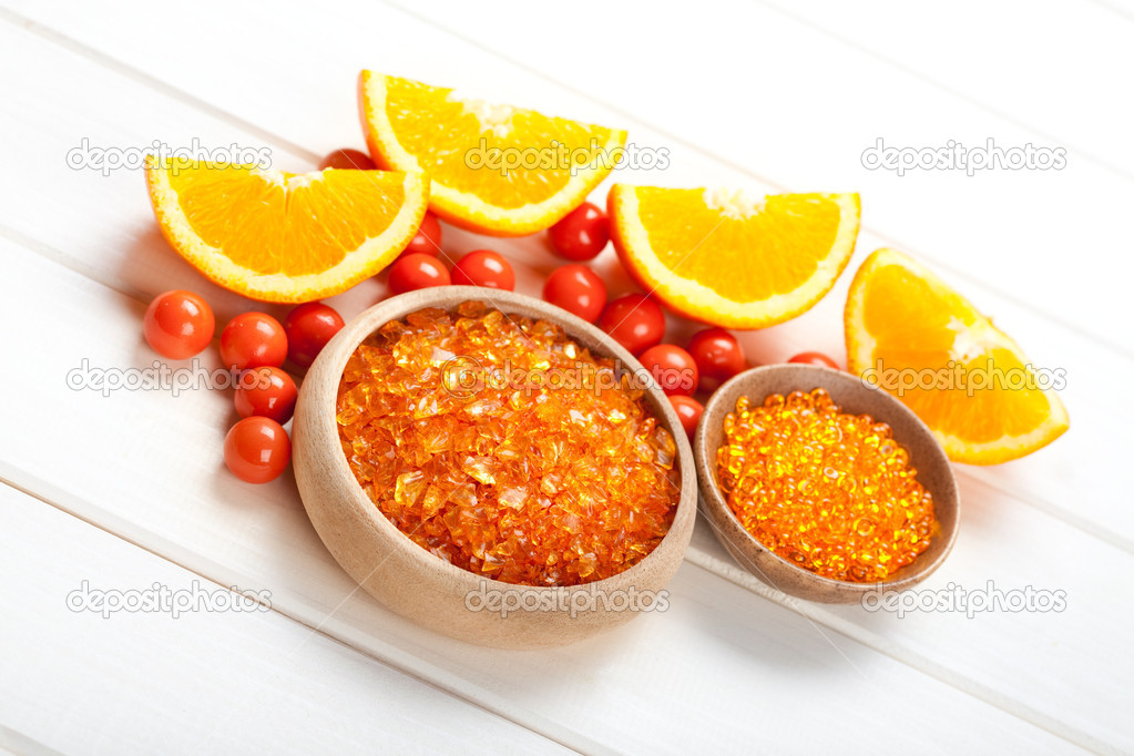 Orange bath salt and ripe fruits — Stock Photo #6681873