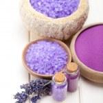 Spa supplies - lavender salt — Stock Photo