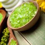 Green bath salt for Spa — Stock Photo