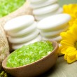 Stock Photo: Relaxation - Aromatherapy minerals