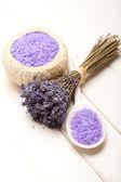 Aromatherapy - lavender bath salt — Stock Photo