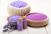 Spa supplies - lavender salt — Stock Photo