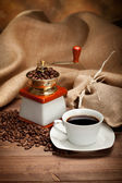 Espresso - coffee cup and beans — Stock Photo