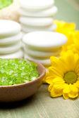 Aromatherapy - lime bath salt and flowers — Stock Photo