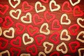 Wooden hearts - valentine background — Stock Photo