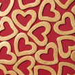 Valentine background - golden hearts — Stock Photo