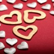 Stock Photo: White and golden hearts