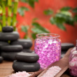Pink Spa - bath salt and stones — Stock Photo