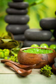 Spa treatments - salt and massage stones — Stock Photo