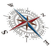 Brújula 3 d vector rosa de los vientos — Vector de stock