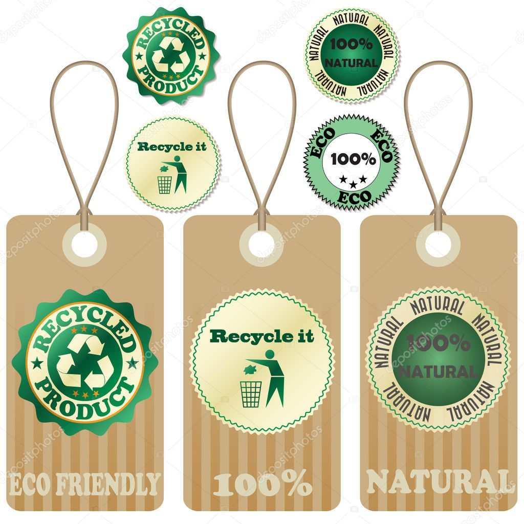 Eco tags and stickers isolated on white.  Stock Vector #5794868