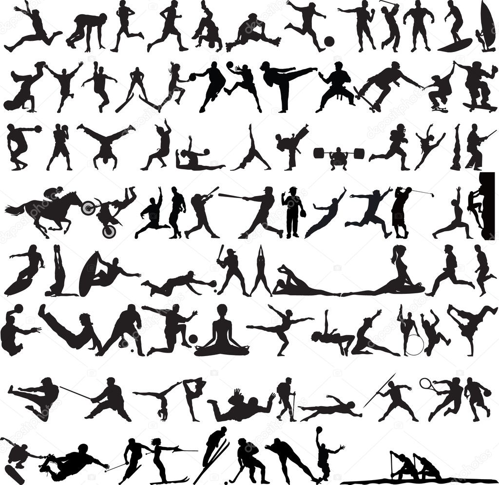 Set of Sports Silhouettes isolated on white — Stock Vector #5850888