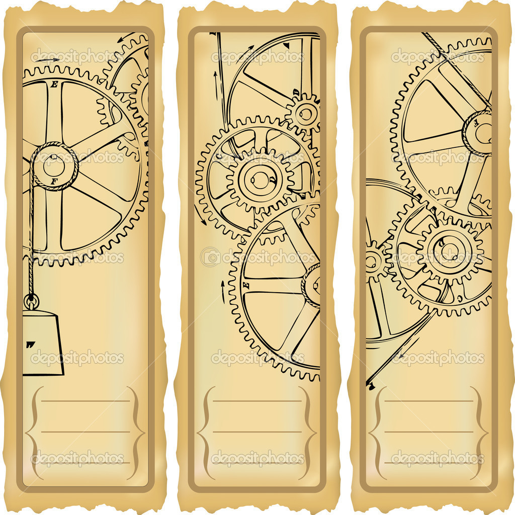 Vertical options for banners with gears. — Stock Vector #5952254