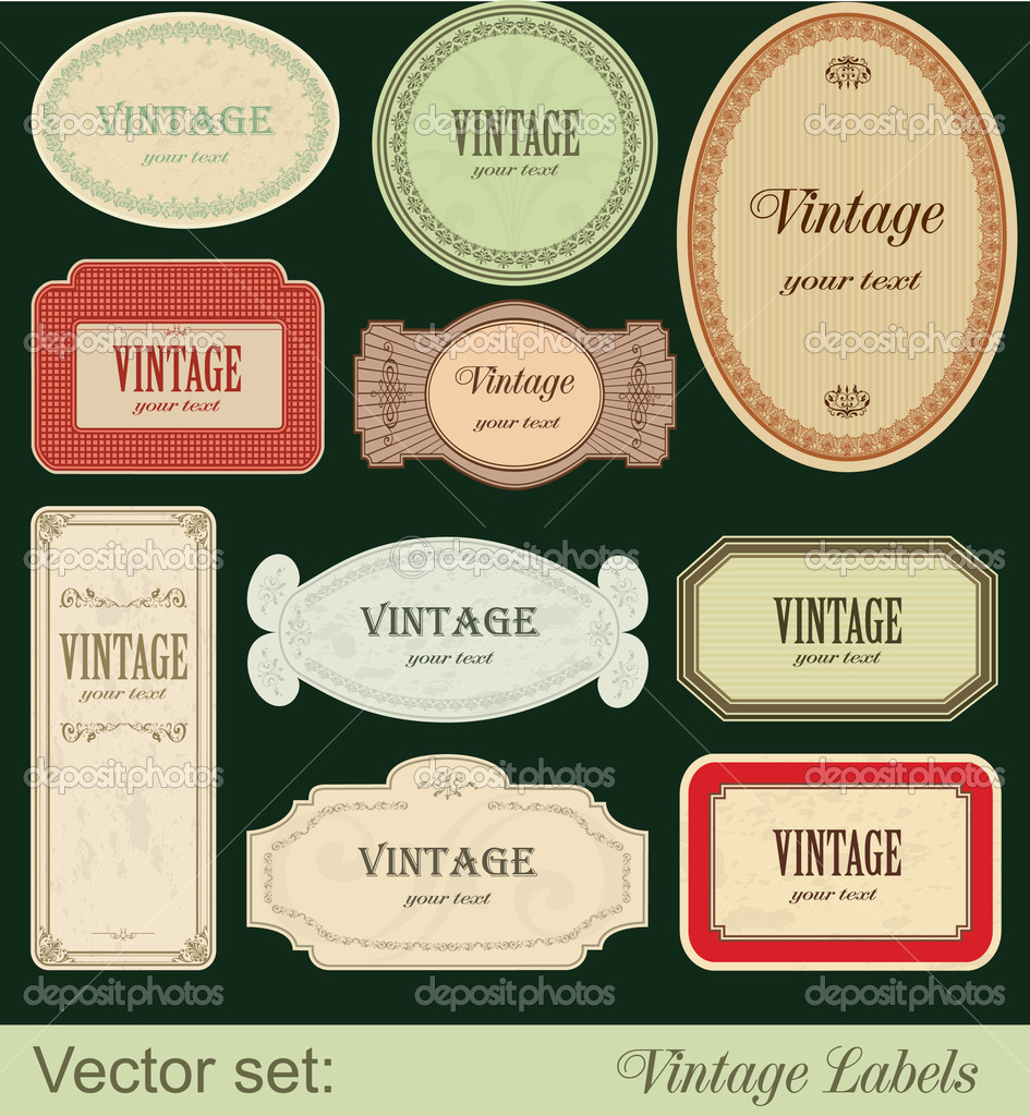 Vintage labels isolated on black background — Stock Vector #6002716