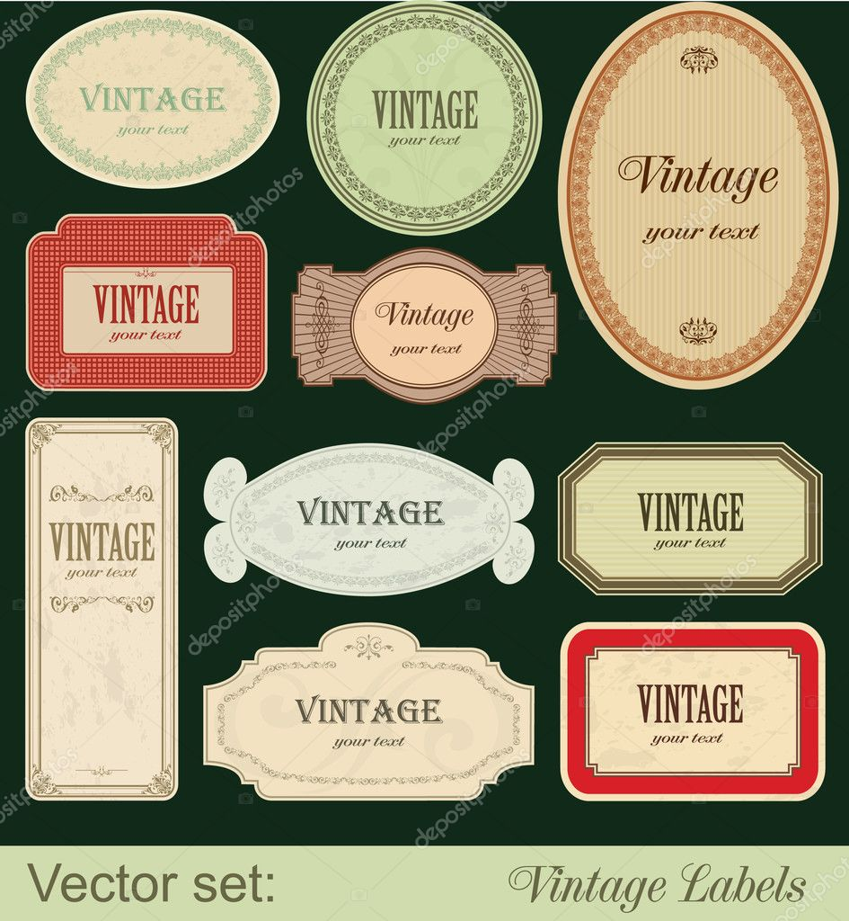 Vintage labels isolated on black background — Imagen vectorial #6002716