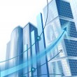 Modern city buildings and abstract business graph — Vector de stock