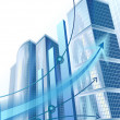 Stok Vektör: Modern city buildings and abstract business graph
