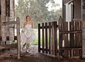 Bride in Rubber-boots — Stock Photo