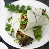 Salmon and Salad Wrap for lunch — 图库照片