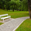 White park bench — Stock Photo