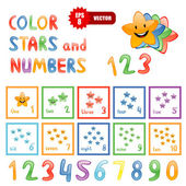 Stars and numbers for children education — Stock Vector