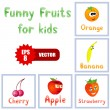 Funny fruits for children education — Stock Vector #5744994