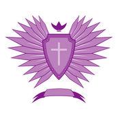 Violet ancient emblem — Stock Vector