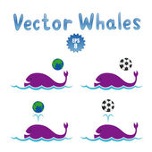 Playing whales — Stock Vector