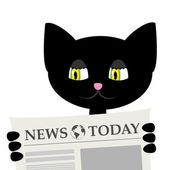 Black cat is reading a newspaper — Stock Vector