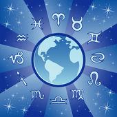 Blue zodiac wheel — Stock Vector