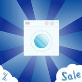Sale banner with washing machine — Stock Vector