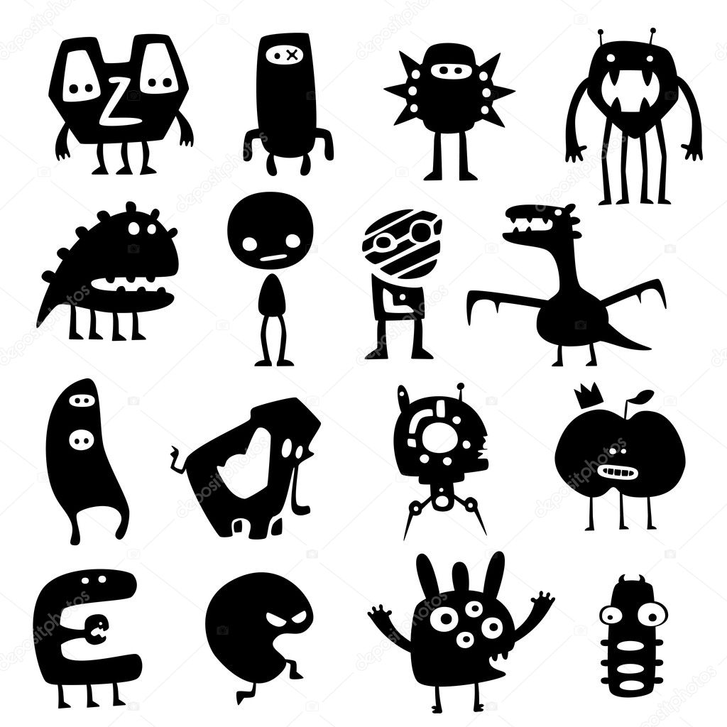 Collection of cartoon funny vector monsters silhouettes  Stock Vector #5515730