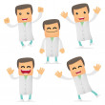 Set of funny cartoon doctor — Stock Vector #5545774